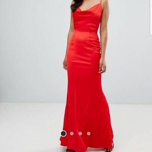 ASOS Red Drape Neck Gown